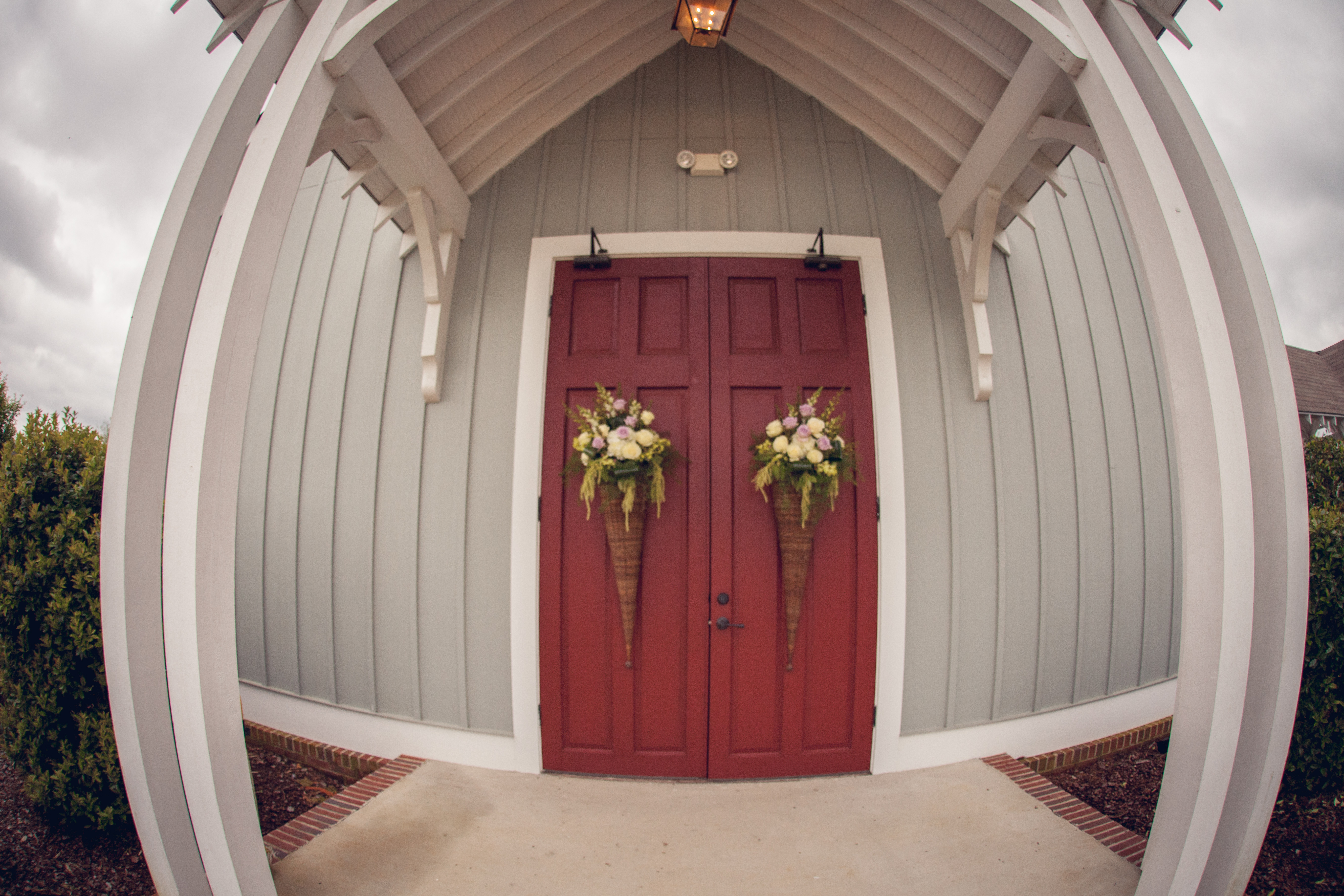 Fisheye View Of The Flowers On The Doors Christ Episcopal Church